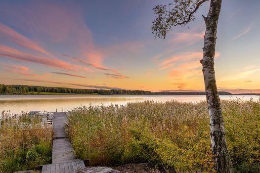 Бесплатные фото Карлстад,Вермланда,Швеция,Природа,Пейзаж,морской пейзаж,закат,берег,лодка,мостик