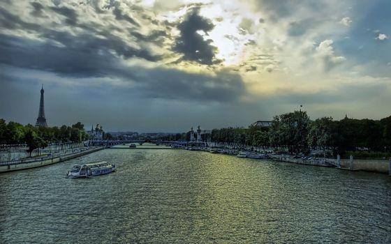 Бесплатные фото Париж,эйфелева башня,река,Сена,трамвайчик,набережная
