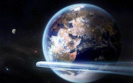 Фото бесплатно планеты, метеорит, полет