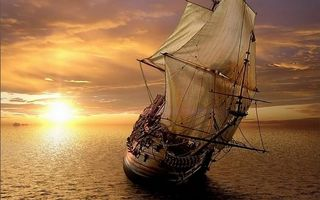 Бесплатные фото корабль,паруса,мачты,море,закат,солнце