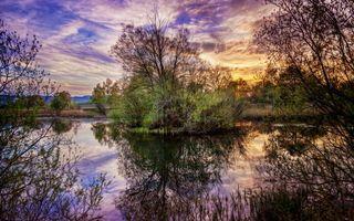 Фото бесплатно река, островок, деревья