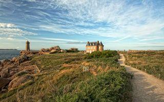 Бесплатные фото берег,тропинка,трава,камни,дом,маяк,море