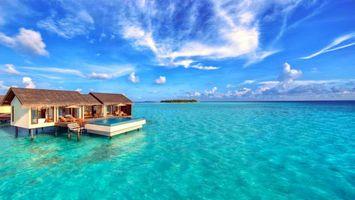 Бесплатные фото Мальдивы,море,остров,бунгало