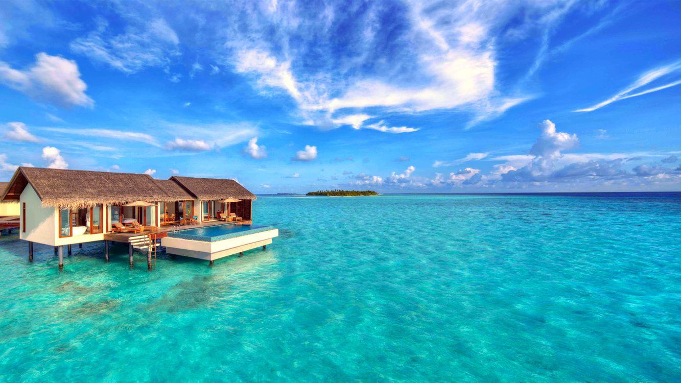 Фото бесплатно море, бунгало, остров - на рабочий стол