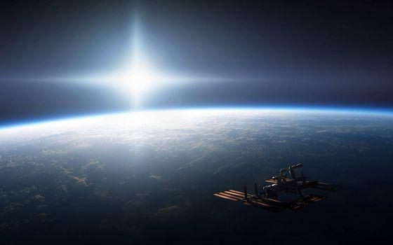 Заставки Искусственный спутник Земли,космический летательный аппарат,Земля,звезда,атмосфера,облака