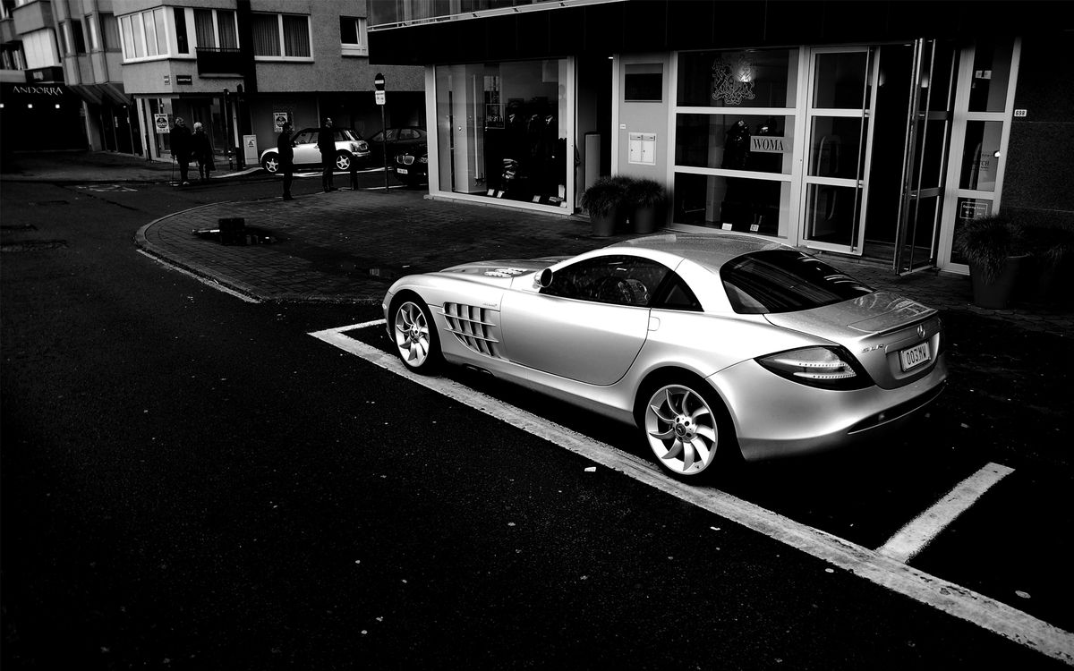 Photos for free Mercedes SLR, silver, sports car - to the desktop