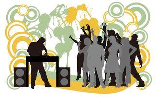 Бесплатные фото рисунок, люди, дискотека, диджей, пульт, колонки