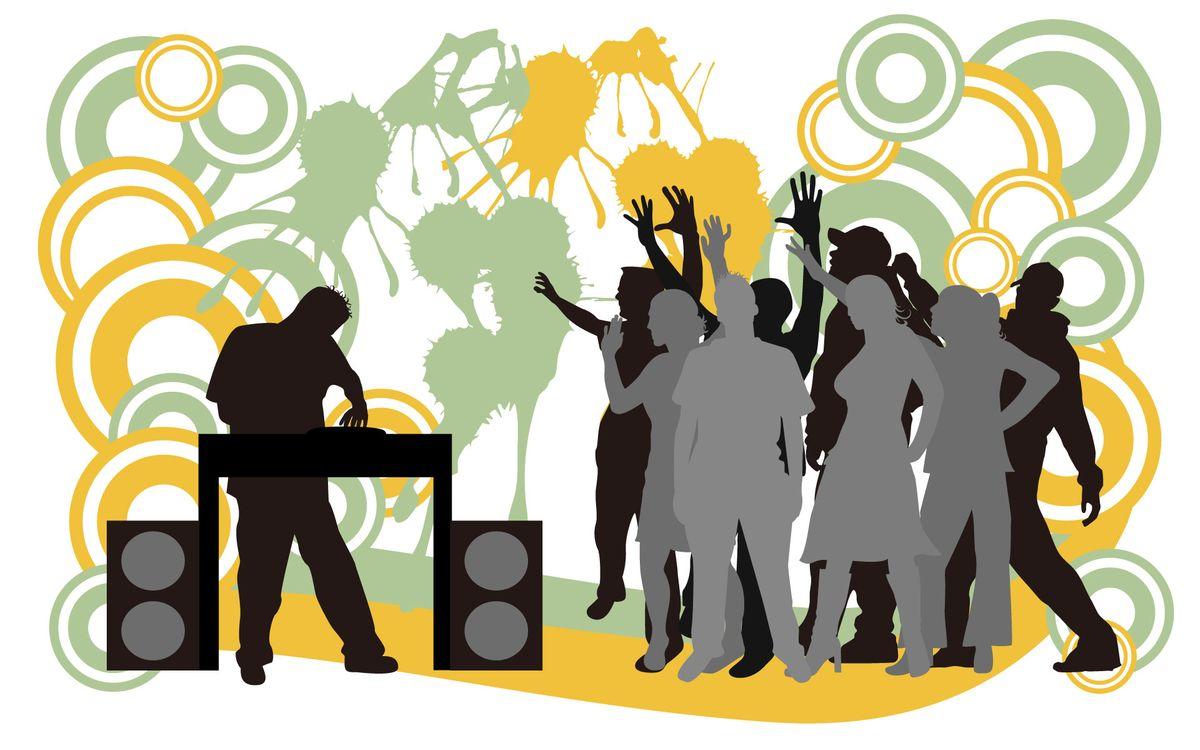 Фото бесплатно рисунок, люди, дискотека, диджей, пульт, колонки, музыка