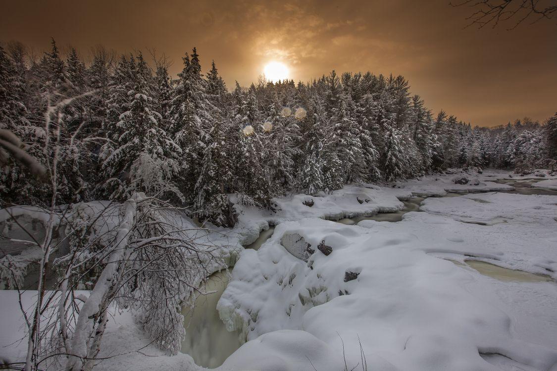 Фото бесплатно закат, зима, снег, сугорбы, река, лес, деревья, пейзаж, пейзажи