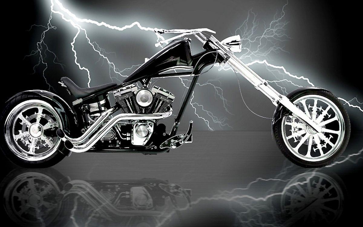 Фото бесплатно чоппер, вилка, двигатель, выхлоп, молния, разряд, мотоциклы