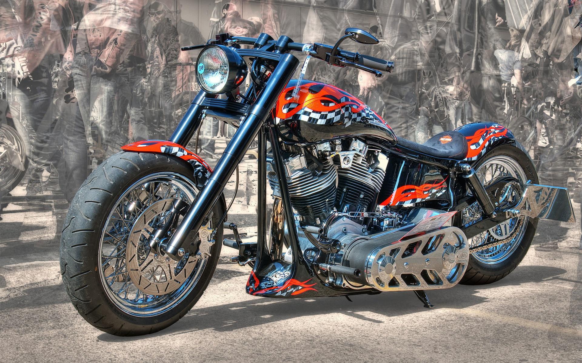 обои Harley-Davidson, мотоцикл, тюнинг, аэрография картинки фото