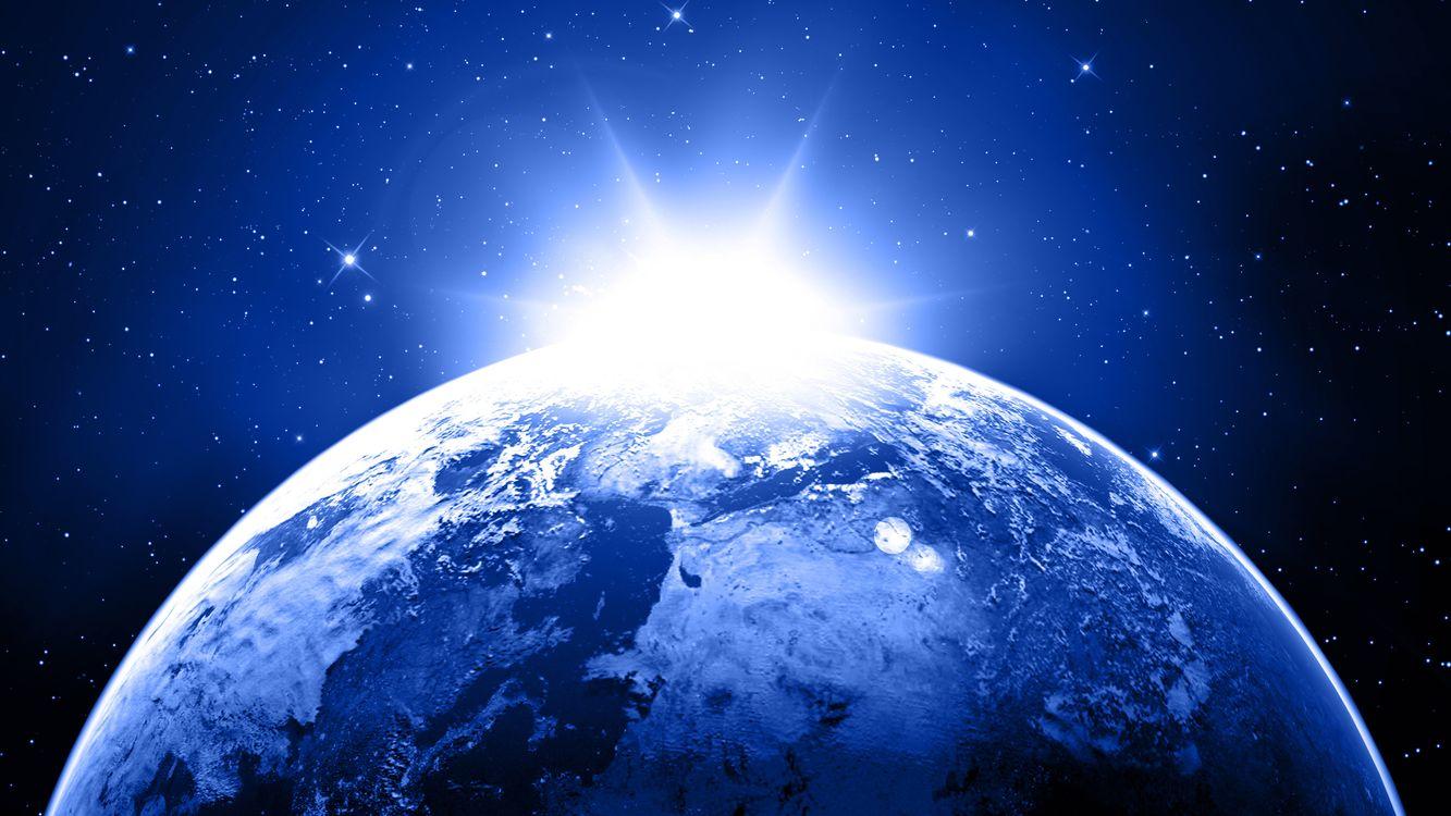 Фото бесплатно планета, земля, солнце, восход, звезды, невесомость, вакуум, космос