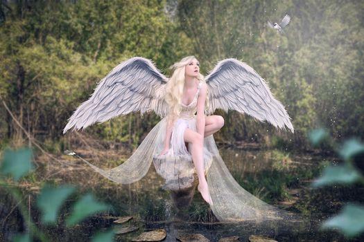 Бесплатные фото фантастическая девушка,ангел,модель,фотосессия