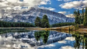 Фото бесплатно лес, отражение, облака