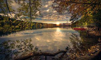 Фото бесплатно осень, лодка, закат