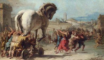 Бесплатные фото Шествие Троянского коня,картина,Джованни Доменико Тьеполо,Giandomenico Tiepolo,1773,живопись,Троянский конь