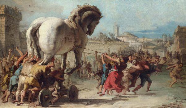 Фото бесплатно Шествие Троянского коня, картина, Джованни Доменико Тьеполо