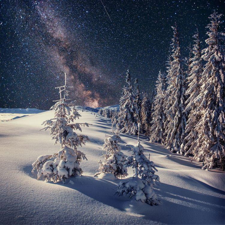 Фото бесплатно зима, снег, горы, деревья, пейзаж, зимнее настроение, сугробы, сияние, природа, пейзажи
