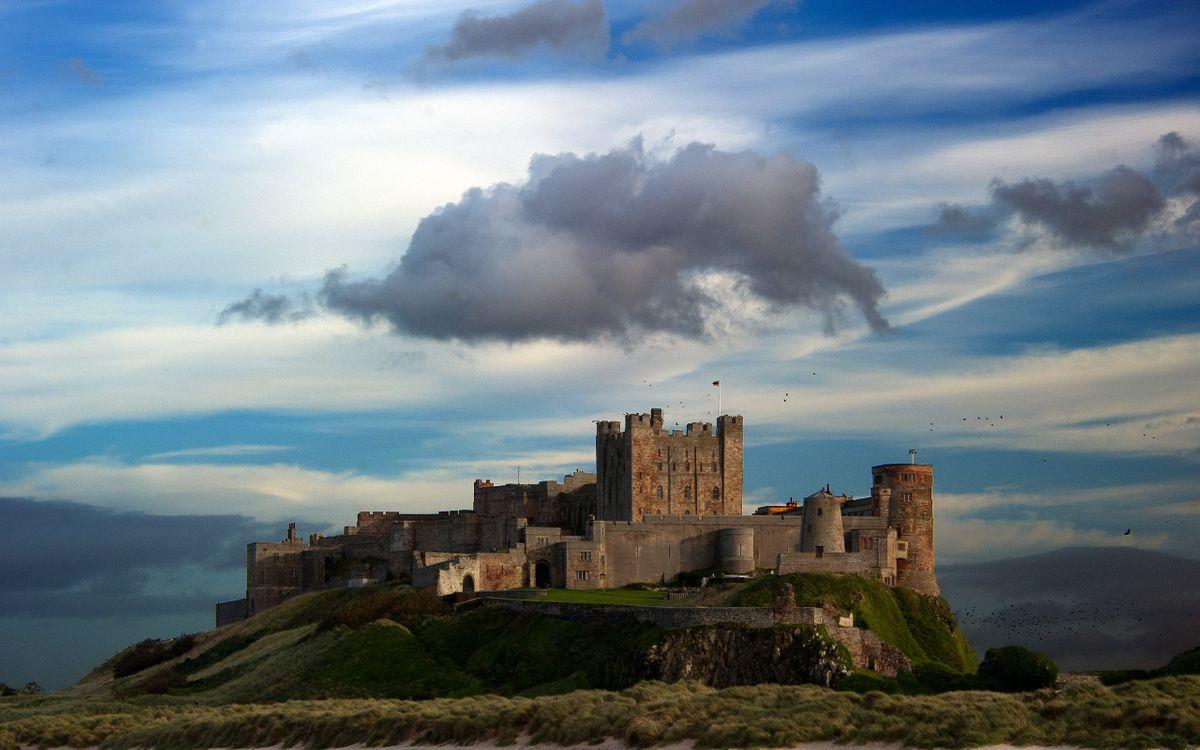 Фото бесплатно Замок Бамборо, холм, просторы, город