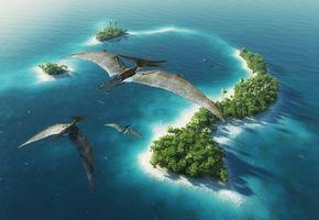Бесплатные фото древние животные,динозавры,птеранодон,остров,деревья,море,пальмы
