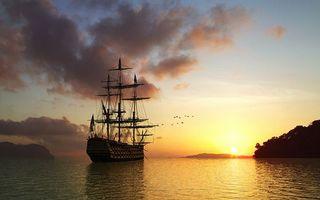 Бесплатные фото море,корабль,мачты,птицы,небо,облака,закат