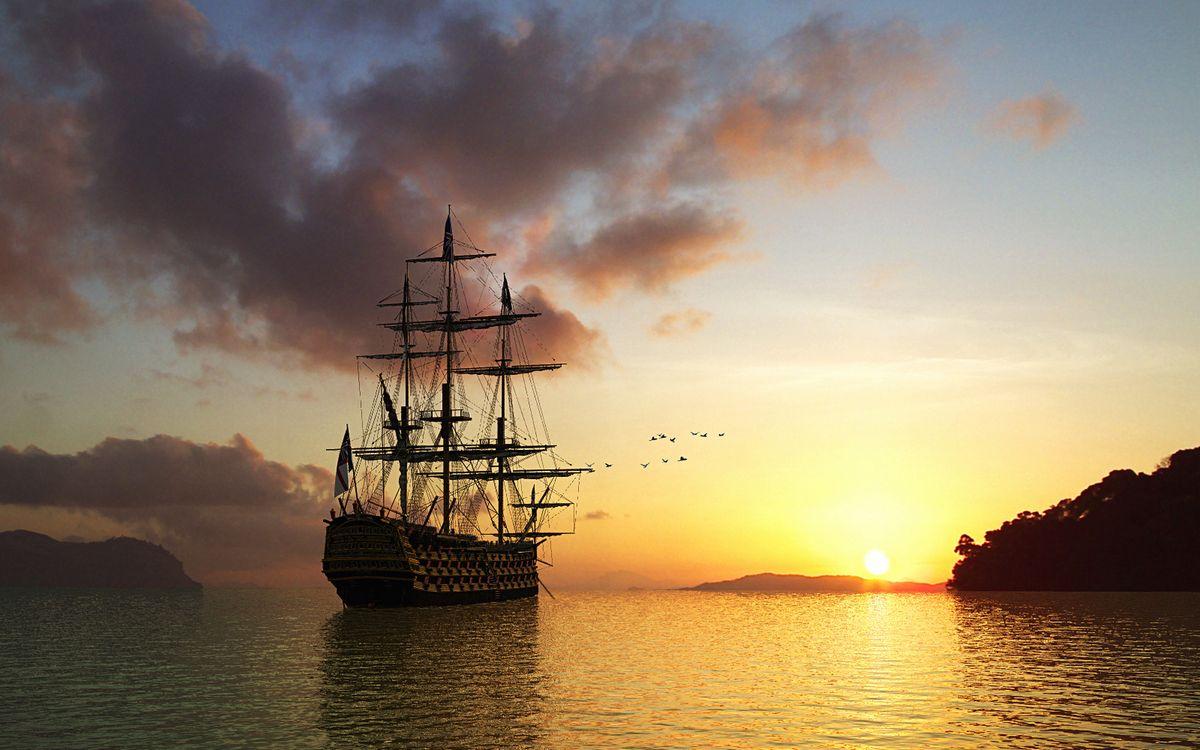 Фото бесплатно море, корабль, мачты, птицы, небо, облака, закат - на рабочий стол