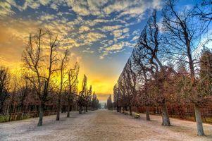 Бесплатные фото закат,осень,парк,деревья,лавочки,пейзаж