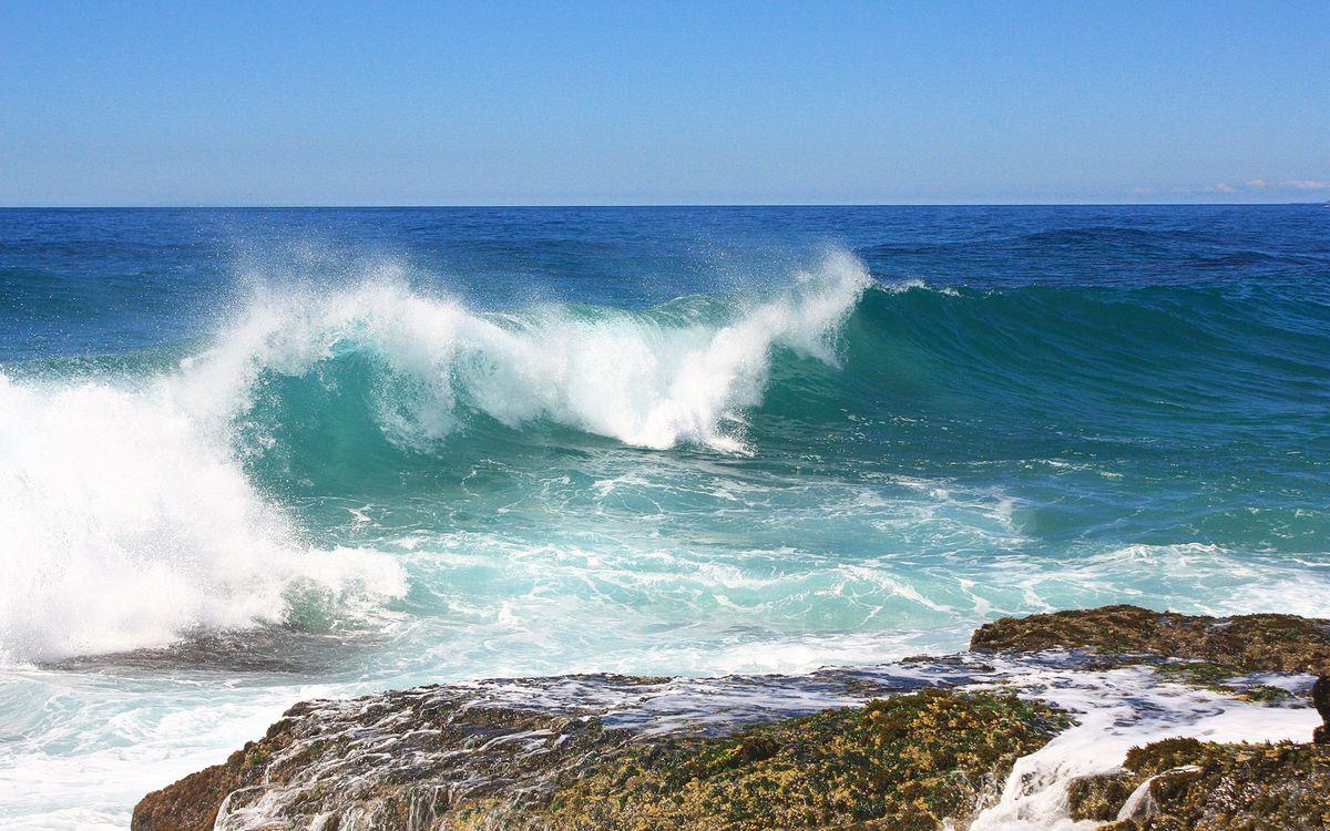 Фото бесплатно берег, океан, волна, брызги, скала, природа
