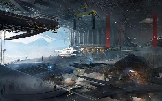 Фото бесплатно космические корабли, взлетная полоса, люди