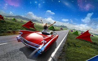 Бесплатные фото Машина, дорога, девушки, скорость, поле, трава