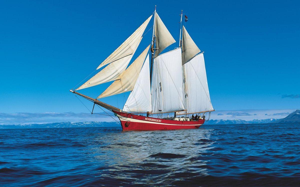 Фото бесплатно море, корабль, красный - на рабочий стол