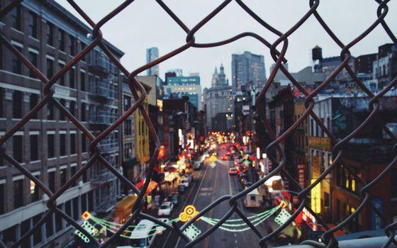 Photo free fence, iron mesh, hole