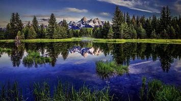 Бесплатные фото озеро, горы, отражение, трава, деревья