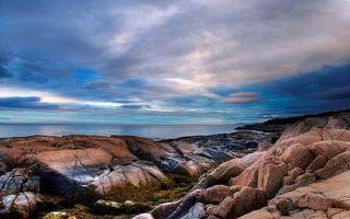 Заставки побережье,камни,море,горизонт,небо,облака