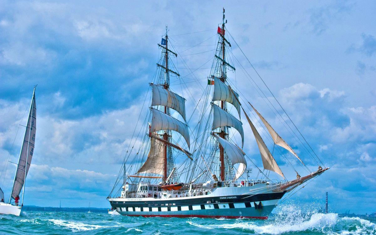 Фото бесплатно море, волны, корабль, мачты, паруса, яхта, корабли