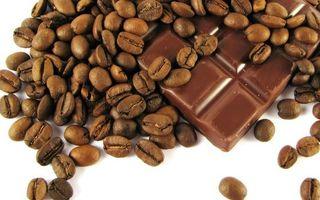 Заставки шоколад, плитка, кофе, зерна, фон белый