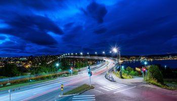 Бесплатные фото Тромсё,Норвегия,дорога,мост,ночь