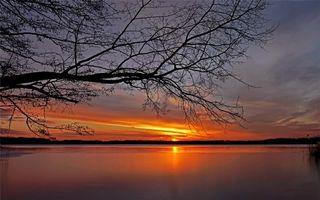 Фото бесплатно закат солнца, озеро