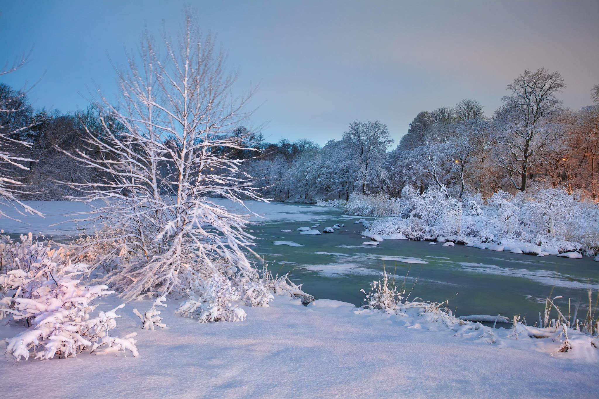 обои зима, река, деревья, закат картинки фото