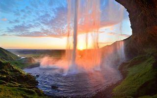 Бесплатные фото водопад,гора,брызги,небо,закат