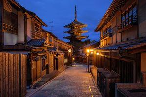 Бесплатные фото Киото,Япония,ночь,улица,дома,дорога