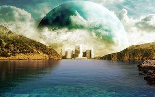 Бесплатные фото озеро, холмы, город, высотки, небо, планета, облака