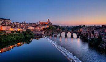 Бесплатные фото река Тарн,старый город Альби,Франция,закат,пейзаж