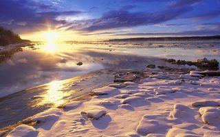 Бесплатные фото берег, камни, снег, река, лед, небо, солнце