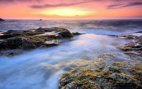 Бесплатные фото камни,рифы,море,горизонт,небо,закат,облака