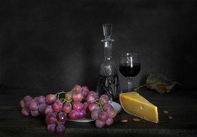 Фото бесплатно виноград, графин, натюрморт