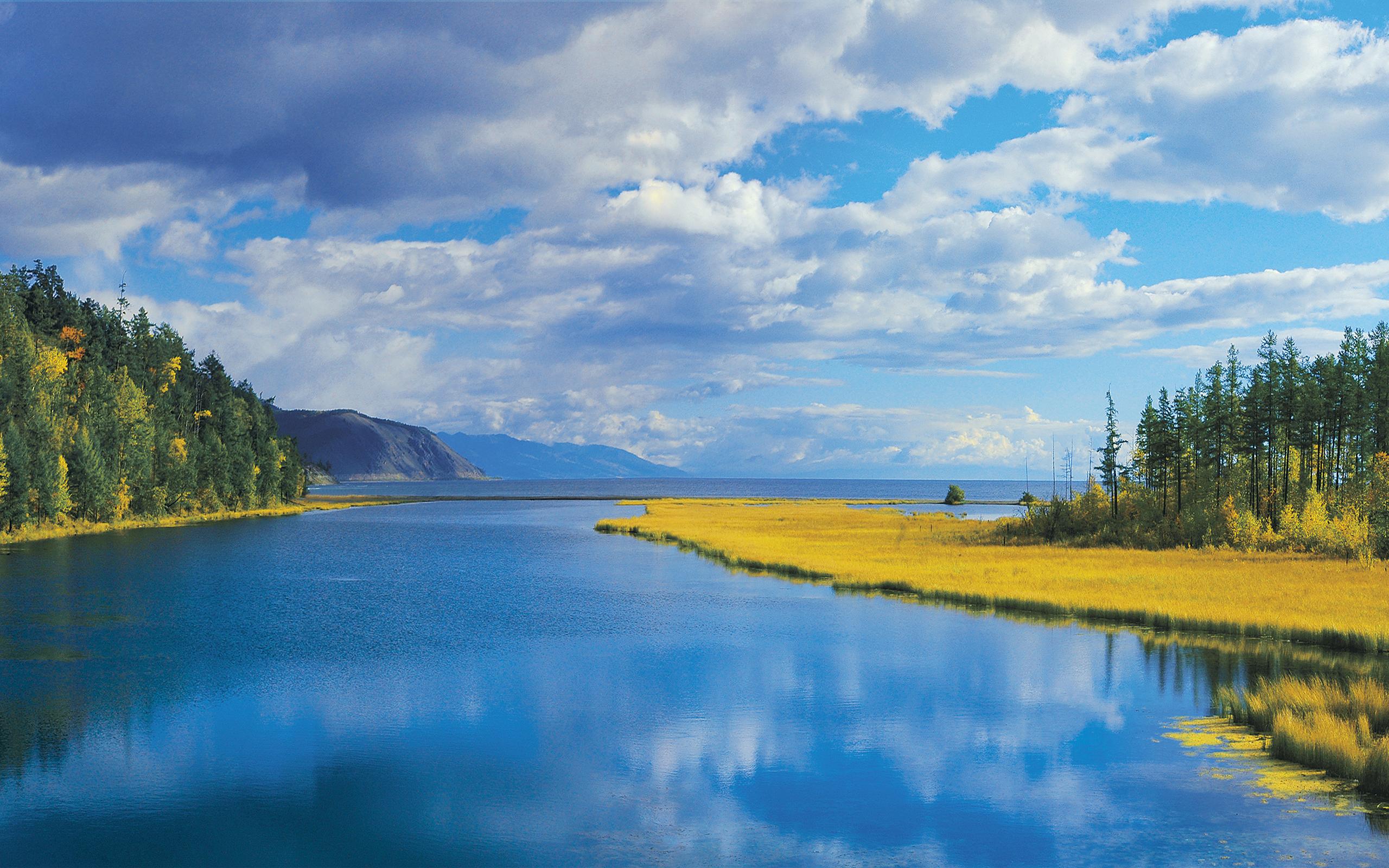 природа горы небо облака деревья река  № 2578084 бесплатно