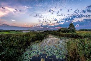 Фото бесплатно закат, река, небо