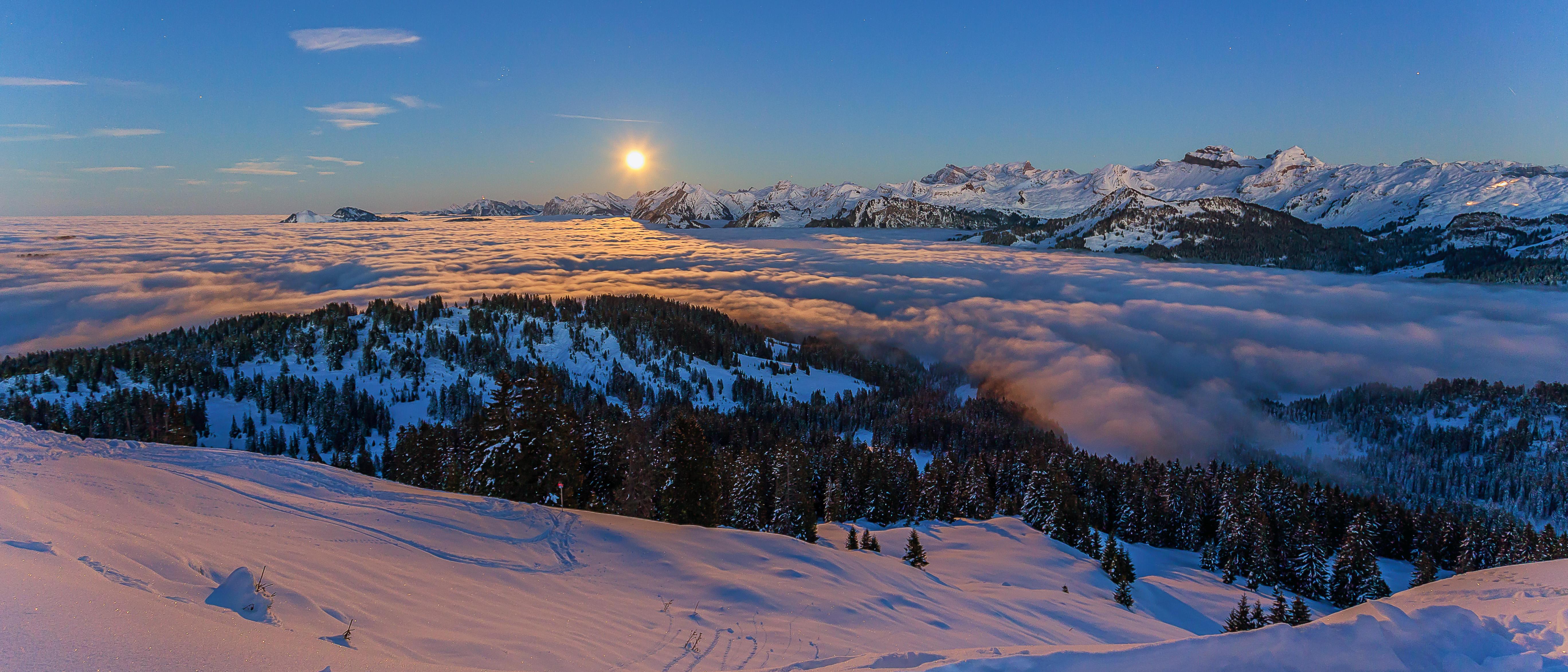 обои Море тумана, Альпы, Панорама, Швейцария картинки фото