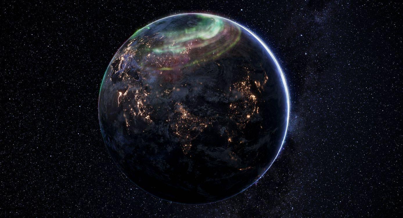 Фото бесплатно планета Земля, северное сияние, вид из космоса, ночь, космос - скачать на рабочий стол